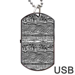 Ethno Seamless Pattern Dog Tag Usb Flash (two Sides) by Nexatart