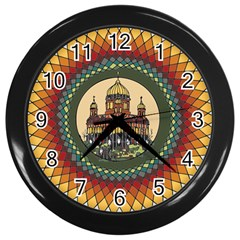 Building Mandala Palace Wall Clocks (black) by Nexatart