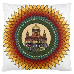 Building Mandala Palace Large Flano Cushion Case (two Sides) by Nexatart