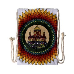 Building Mandala Palace Drawstring Bag (small) by Nexatart