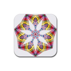 Colorful Chromatic Psychedelic Rubber Square Coaster (4 Pack)  by Nexatart
