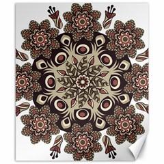 Mandala Pattern Round Brown Floral Canvas 8  X 10  by Nexatart