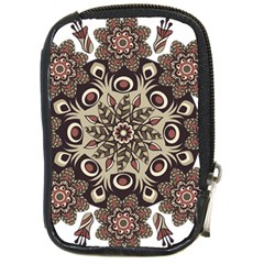 Mandala Pattern Round Brown Floral Compact Camera Cases by Nexatart