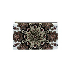 Mandala Pattern Round Brown Floral Cosmetic Bag (small)  by Nexatart