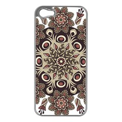 Mandala Pattern Round Brown Floral Apple Iphone 5 Case (silver)