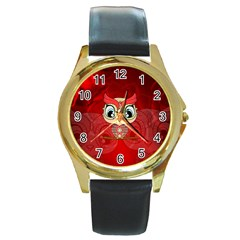 Cute Colorful  Owl, Mandala Design Round Gold Metal Watch by FantasyWorld7