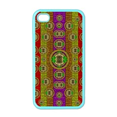 Rainbow Flowers In Heavy Metal And Paradise Namaste Style Apple Iphone 4 Case (color) by pepitasart