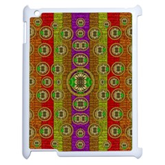 Rainbow Flowers In Heavy Metal And Paradise Namaste Style Apple Ipad 2 Case (white) by pepitasart