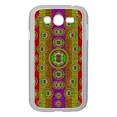 Rainbow Flowers In Heavy Metal And Paradise Namaste Style Samsung Galaxy Grand Duos I9082 Case (white) by pepitasart