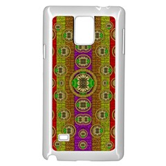 Rainbow Flowers In Heavy Metal And Paradise Namaste Style Samsung Galaxy Note 4 Case (white) by pepitasart