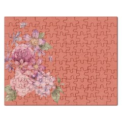Flower Illustration Rose Floral Pattern Rectangular Jigsaw Puzzl by paulaoliveiradesign