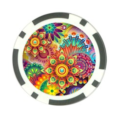 Colorful Abstract Pattern Kaleidoscope Poker Chip Card Guard by paulaoliveiradesign