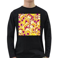 Retro Pattern 1973f Long Sleeve Dark T Shirts by MoreColorsinLife