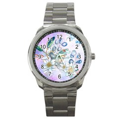 Funny, Cute Frog With Waterlily And Leaves Sport Metal Watch by FantasyWorld7