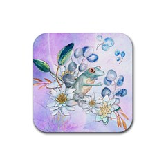 Funny, Cute Frog With Waterlily And Leaves Rubber Coaster (square)  by FantasyWorld7