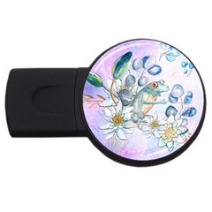 Funny, Cute Frog With Waterlily And Leaves Usb Flash Drive Round (2 Gb) by FantasyWorld7