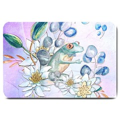 Funny, Cute Frog With Waterlily And Leaves Large Doormat  by FantasyWorld7