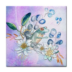Funny, Cute Frog With Waterlily And Leaves Face Towel by FantasyWorld7