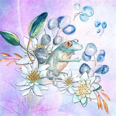 Funny, Cute Frog With Waterlily And Leaves Magic Photo Cubes by FantasyWorld7