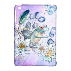 Funny, Cute Frog With Waterlily And Leaves Apple Ipad Mini Hardshell Case (compatible With Smart Cover) by FantasyWorld7