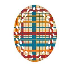 Plaid Pattern Ornament (oval Filigree) by linceazul