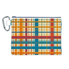 Plaid Pattern Canvas Cosmetic Bag (l) by linceazul