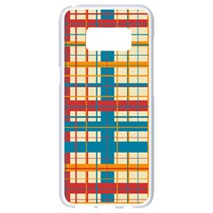 Plaid Pattern Samsung Galaxy S8 White Seamless Case by linceazul