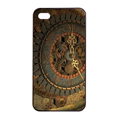 Steampunk, Awesoeme Clock, Rusty Metal Apple Iphone 4/4s Seamless Case (black) by FantasyWorld7