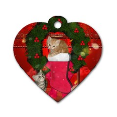 Christmas, Funny Kitten With Gifts Dog Tag Heart (one Side) by FantasyWorld7