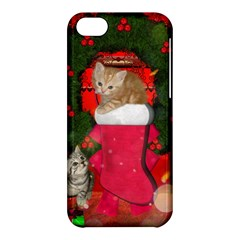 Christmas, Funny Kitten With Gifts Apple Iphone 5c Hardshell Case by FantasyWorld7