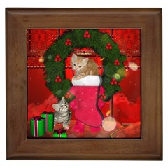 Christmas, Funny Kitten With Gifts Framed Tiles by FantasyWorld7