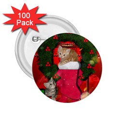 Christmas, Funny Kitten With Gifts 2 25  Buttons (100 Pack)  by FantasyWorld7