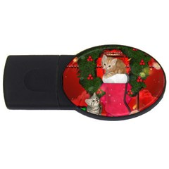Christmas, Funny Kitten With Gifts Usb Flash Drive Oval (4 Gb) by FantasyWorld7