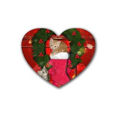 Christmas, Funny Kitten With Gifts Heart Coaster (4 Pack)  by FantasyWorld7