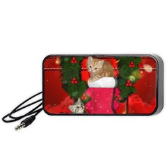 Christmas, Funny Kitten With Gifts Portable Speaker (black) by FantasyWorld7