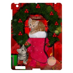 Christmas, Funny Kitten With Gifts Apple Ipad 3/4 Hardshell Case by FantasyWorld7