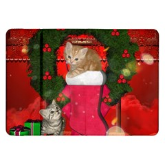 Christmas, Funny Kitten With Gifts Samsung Galaxy Tab 8 9  P7300 Flip Case by FantasyWorld7