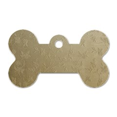 Gold Floral Royal Pattern  Dog Tag Bone (two Sides) by paulaoliveiradesign