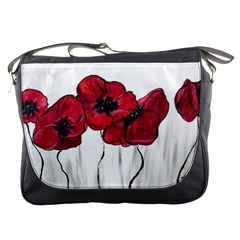 Main Street Poppies Hr Aceo Messenger Bags by artbyjacquie
