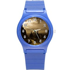 Borobudur Temple Indonesia Round Plastic Sport Watch (s) by Nexatart