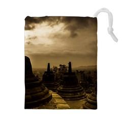 Borobudur Temple Indonesia Drawstring Pouches (extra Large) by Nexatart