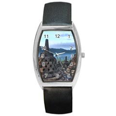 Borobudur Temple  Morning Serenade Barrel Style Metal Watch by Nexatart