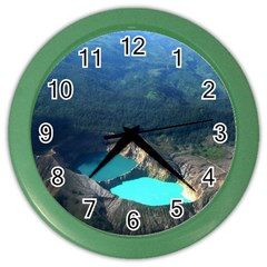 Kelimutu Crater Lakes  Indonesia Color Wall Clocks by Nexatart