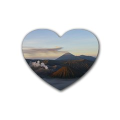 Sunrise Mount Bromo Tengger Semeru National Park  Indonesia Rubber Coaster (heart)  by Nexatart