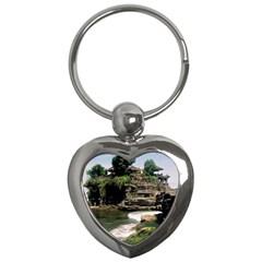 Tanah Lot Bali Indonesia Key Chains (heart)  by Nexatart