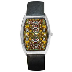 Fantasy Forest And Fantasy Plumeria In Peace Barrel Style Metal Watch by pepitasart