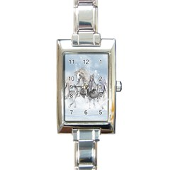 Awesome Running Horses In The Snow Rectangle Italian Charm Watch by FantasyWorld7