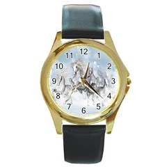 Awesome Running Horses In The Snow Round Gold Metal Watch by FantasyWorld7