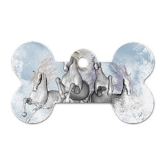 Awesome Running Horses In The Snow Dog Tag Bone (two Sides) by FantasyWorld7