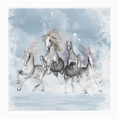 Awesome Running Horses In The Snow Medium Glasses Cloth by FantasyWorld7